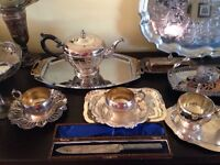 Antique silverware plates, spoons, dishes