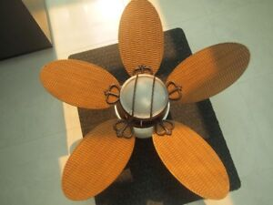 2 Home Ceiling Fans with Woven Wooden Blades