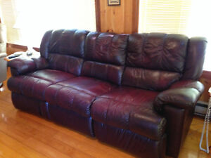 Real Leather Reclining Sofa & Reclining Chair