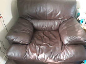Brown leather one seater