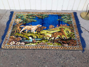 1950's MID CENTURY TAPESTRY DOG HUNTING SCENE $22.00
