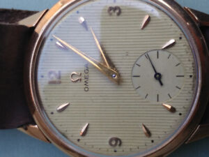 50s omega solid 18k spectacular dial watch