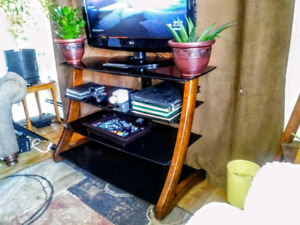 4 tier black tempered glass  flat screen stand
