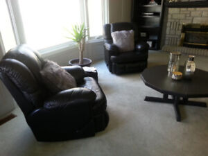 leather couch & 2 leather reclining chairs