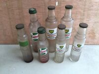 Vintage oil bottles Castrol BP etc (7) Massey Ferguson Ford escort cortina Anglia tractor sign