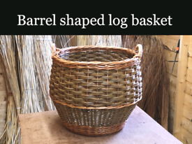 Log baskets made from willow