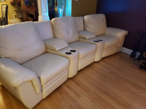 Synthetic leather  semi curved recliner adjustabe 3 seated  sofa
