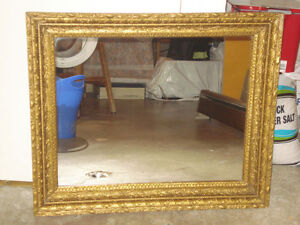 Vintage mirror with real wood frame