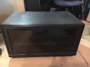 TV Table with 2 Shelves and Glass Doors
