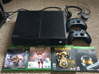 Mint xbox one with 2 controllers, games and headset