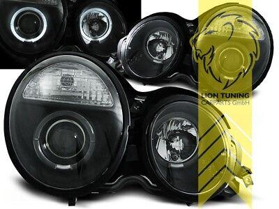 LED Angel Eyes Scheinwerfer für Mercedes Benz W210 Lim T-Modell E-Klasse schwarz