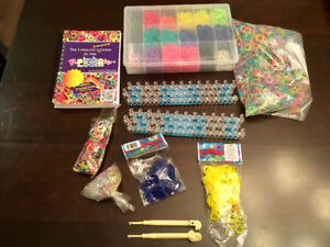 Rainbow loom lot- book, looms, hooks and lots of bands