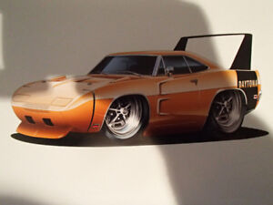 "1969 Dodge Daytona HEMI Orange Wall Art Picture 11"" X 8.5"""