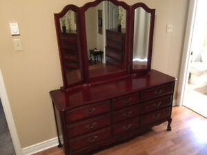 Triple dresser, french provincial style, with mirror