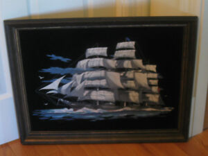 FETCHING OLD VINTAGE FRAMED SEA GOING SAILING VESSEL on VELVET