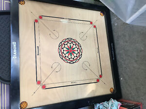 Diamond Carrom Board with Coins and Striker with some Boric powd