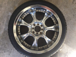 Brand new aftermarket chrome rims and tires 18