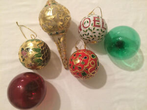 Christmas fancy glass ornaments - heavy and beautiful