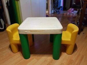 Table et chaise en plastique pour enfants