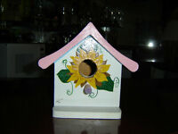 TWO HAND PAINTED BIRD HOUSES