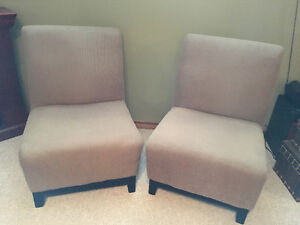 2 Tan Accent Chairs