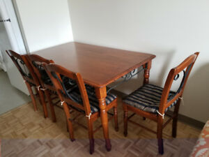 Hard Wood Dinner table set with custom made chair cushions