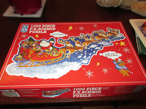 1000 Piece Schmid puzzle - Santa's on his way. Shaped  3' Long