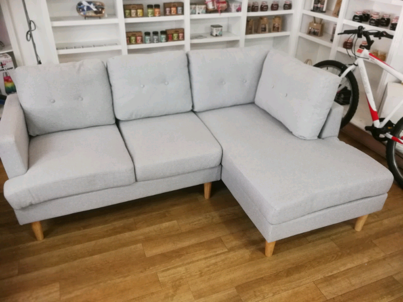 Outstanding Light Grey Fabric Corner Sofa With Chaise And Wooden Legs In Hamilton South Lanarkshire Gumtree Theyellowbook Wood Chair Design Ideas Theyellowbookinfo