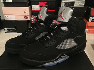 Air Jordan 5 V Retro Black/Red/Met Silver basketball sz 9 US