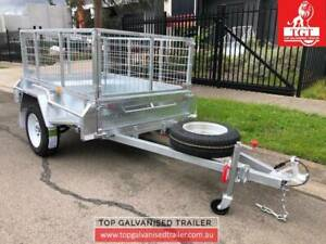 6x4 Box Trailer Galvanised Fully Welded 600mm Cage New Tyres Tilt Body