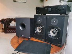 Heybrook, Denon, Tannoy, speakers, amp and subwoofer sound system