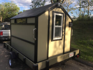 "Insulated/wired Ice Shack with Tilt Trailer 6'w x 8'l x 6'6""h"