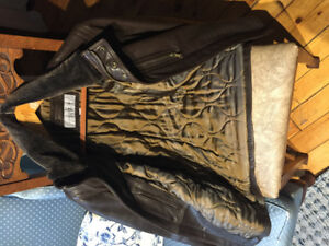 Men's Brown Andrew Marc leather jacket brand new size small