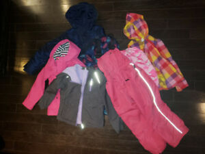 Lot of girls size 7-8 winter out wear: down jacket, snow pants..