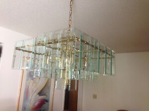 Contemporary Beveled Glass Chandelier