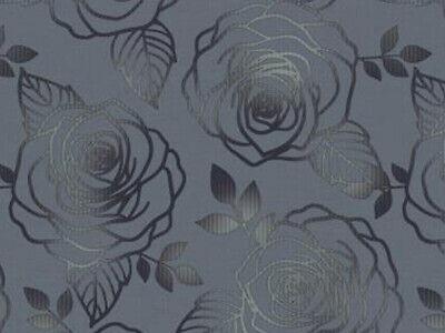 Wachstuch Tischdecke abwaschbar Gartentischdecke Meterware Rosen Grau Blumen