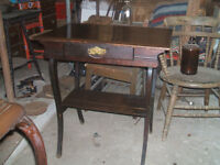 TWO TIERED WALNUT EAST LAKE TABLE WITH DRAWER CA.1930