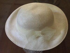 Ladies White Brim Bow Hat Wedding Bridesmaid Party Sunhat