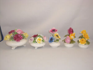 Bone China 5 Flower Bouquet Baskets Stamp Birks Royal Doulton