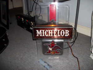 Vintage Collectible Liquor Bottles & Lighted MICHELOB Beer Sign