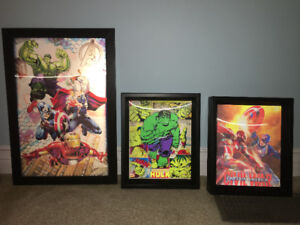 Set of Three 3D Super Hero Shadow Box Pictures