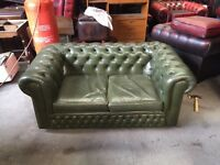Fantastic vintage green leather Chesterfield 2 seater sofa del available