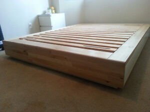 Queen bed frame with storage and mattress