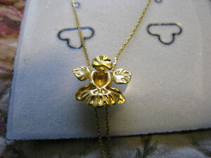 RISIS 24K gold plated orchid necklace 18""