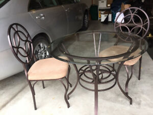 Tempered glass table with chairs