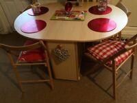 Wooden Pine folding leaf dining table & chairs