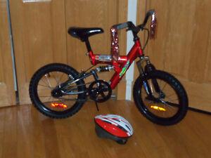 Bicyclette 16 pouces suspension et avec casque
