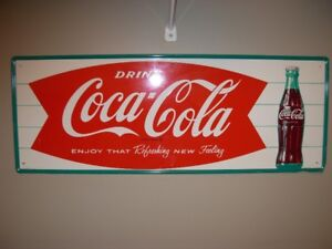 1963 Coca-Cola Fishtail Sign in Awesome Condition