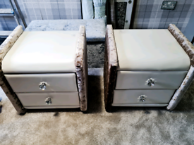 2 x 2 draw leather and velvet bedside cabinets
