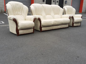 Cream Italian Leather 3 Seater Sofa and 2 Chairs